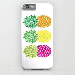Pineapple Trio | Three Pineapples | Pineapple Silhouettes | Hot Pink | Yellow | Orange | iPhone Case