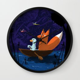 Fox & Duck Looking For Dragonflies Wall Clock