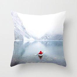 Kayaking Across A Canadian Lake Throw Pillow