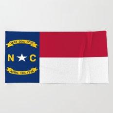 flag of north carolina-south,america,usa,Old North State,Tar Heel,North Carolinian,Charlotte,Raleigh Beach Towel