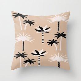 Palm Trees - Neutral Black & White Throw Pillow