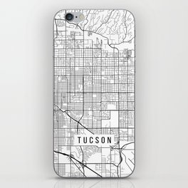 Tucson Map, Arizona USA - Black & White Portrait iPhone Skin