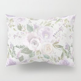 Lavender pastel green white watercolor floral pattern Pillow Sham