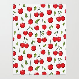 Cheerful cherry pattern. Colorful cherries on white Poster