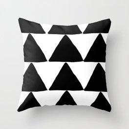 Mountains - Black and White Triangles Throw Pillow