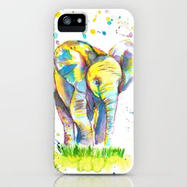 Baby Elephant - Watercolor Painting Print iPhone Case