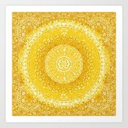 Golden Yellow Tapestry Mandala Art Print