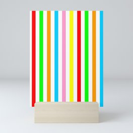 multicolor columns-mutlicolor,abstraction,abstract,fun,line,geometric,geometrical,columns, Mini Art Print