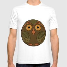 Owl White Mens Fitted Tee SMALL