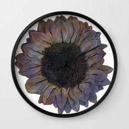 Linework Pastel Sunflower Drawing Wall Clock