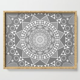 Mystical Grey Mandala Serving Tray