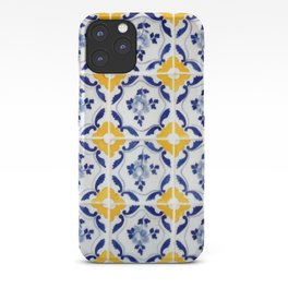 Blue and yellow tile iPhone Case