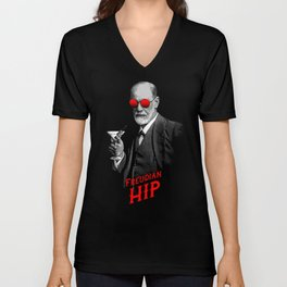 Hipster Psychologist Sigmund Freud Unisex V-Neck