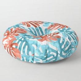Monstera Leaves in Aqua & Coral Floor Pillow