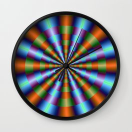 Orange Green Blue and Violet Pleats Wall Clock