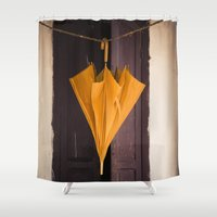 umbrella Shower Curtains featuring Umbrella by Maria Heyens