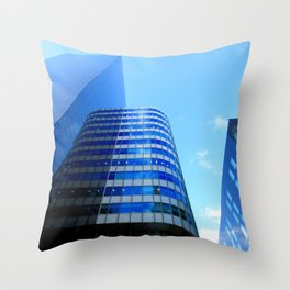 Building Blocks - blue tower cityscape Throw Pillow