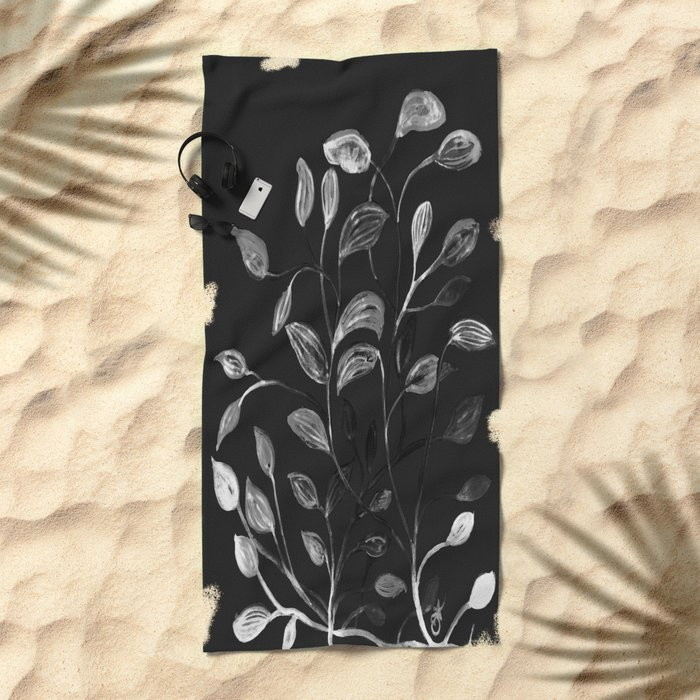 Red and Green Leaves! Monochrome Black and White and Grey Beach Towel