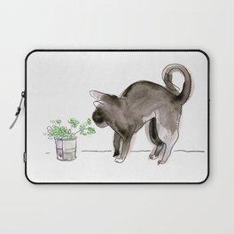 Black Kitten Sniffing Plants: Water Color Illustration Laptop Sleeve