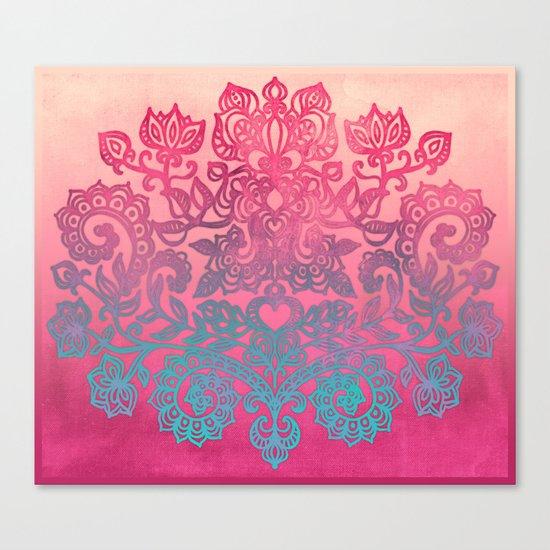 Ombre Canvas Folk Art Doodle in aqua, pink & peach Canvas Print