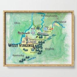 USA West Virginia State Travel Poster Map mit touristischen Highlights Serving Tray