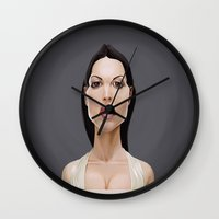celebrity Wall Clocks featuring Celebrity Sunday ~ Monica Bellucci by rob art | illustration