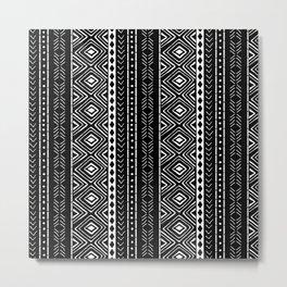 Black Mudcloth Metal Print