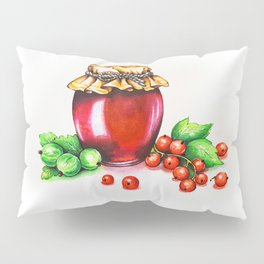 Red Currant and Gooseberry Jam Jar. Watercolour painting. Pillow Sham