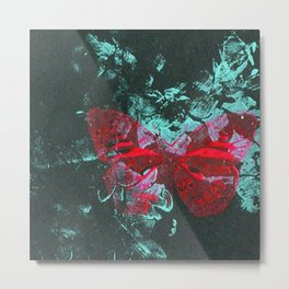 Green and Red Butterfly Metal Print