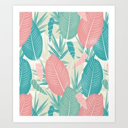 Tropical Palm Leaves, PinkTurquoise,Seashells Art Print