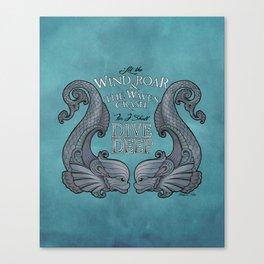 Dive Deep - Silver Dolphins Canvas Print