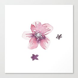 Lilac Pink Watercolour Fiordland Flower Canvas Print