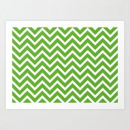 green, white zig zag pattern design Art Print