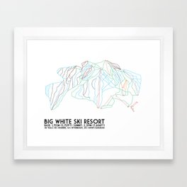 Big White, BC, Canada - Minimalist Trail Art Framed Art Print