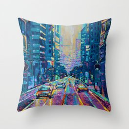 Streets of San Francisco - modern urban city landscape at sunrise by Adriana Dziuba Throw Pillow