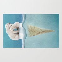 ice Area & Throw Rugs featuring polar ice cream cap 02 by Vin Zzep