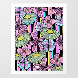 Pinstriped Florals in Pink & Aqua Art Print