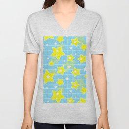 #Yellow #blue #stars Unisex V-Neck