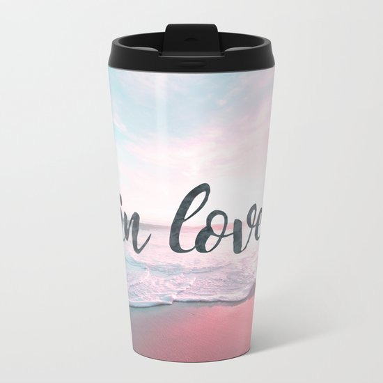 In Love on the beach Metal Travel Mug