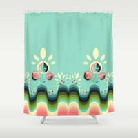 garden Shower Curtains featuring Happy Garden by VessDSign