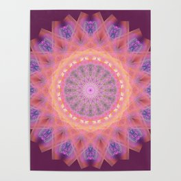 Pink and Purple Flower Mandala Poster