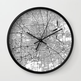 Houston White Map Wall Clock