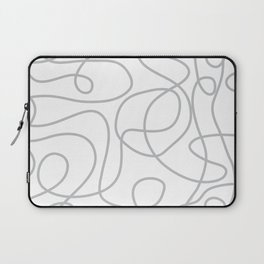 Doodle Line Art | Silver Gray Lines on White Background Laptop Sleeve