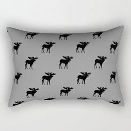 Bull Moose Silhouette - Black on Gray Rectangular Pillow