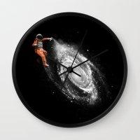 nasa Wall Clocks featuring Space Art by Florent Bodart / Speakerine