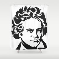 beethoven Shower Curtains featuring Beethoven by b & c