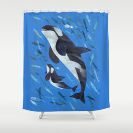 Killer Whale and Baby Shower Curtain