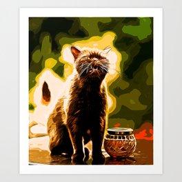 british shorthair cat ready to attack vector art Art Print
