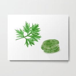 Watercolor Illustration of Crown daisy leaf and rice cake made with it Metal Print