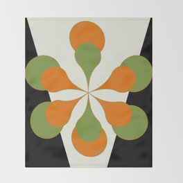 Mid-Century Modern Art 1.4 - Green & Orange Flower Throw Blanket